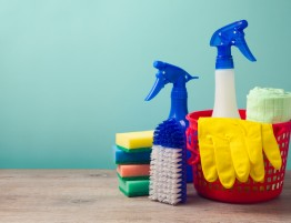 Cleaning equipment, including spray bottles, sponges and a bucket
